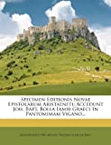 Specimen Editionis Novae Epistolarum Aristaeneti, Aristaenetus (Nicaenus), 1278317139