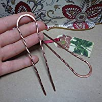 1 Metal Hair Pin for Long Hair, U-shape Twisted Prongs Copper Hair Fork, Custom Length, Handmade Boho Style Hair Accessories