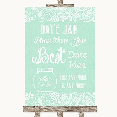 Green Burlap & Lace Date Jar Guestbook Personalized Wedding Sign