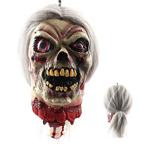 Haunted House Halloween Party - LITTLEGRASS Halloween Props Scary Hanging Severed Head Decorations,Life-Size Bloody Cut Off Corpse Head Ghost Animated Zombie Head for Haunted Houses Party Decor Funny Festive Supplies