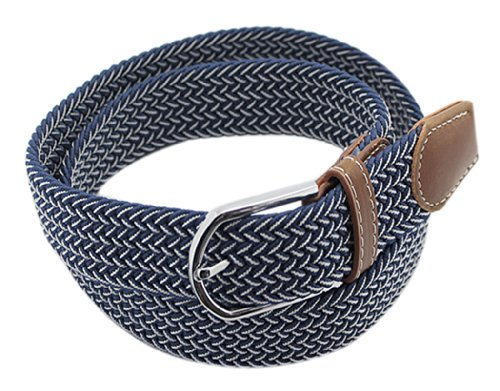 BONAMART ® Women Men Unisex Web Belt Stretch Elastic Braided Canvas Fabric with Metal Buckle 105CM (Ladies Canvas Belts)