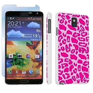 Samsung Galaxy Note 3 III White Designer Hard Case + Screen Protector By SkinGuardz - Pink Leopard