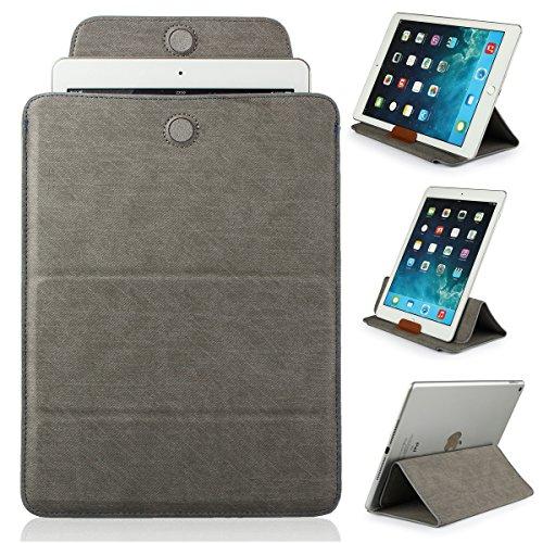 Mulbess - Universal 9 / 10.1 Zoll (27 cm x 19 cm) Tablet-PC Sleeve LederHülle Tasche Schutzhülle Etui mit Easy Standfunktion (Für Apple iPad 2/3/4/Air,Samsung Galaxy Tab/Note/Pro/S 3/4 10.1/10.5 ,Acer Iconia Tab A500/W510,Lenovo ideaTab S6000/K3 Lynx/Yoga,Asus MeMo Pad HD 10/Transformer Book T100TA,Google Nexus 10,Medion LifePad E10320/E10315/S9714/P9514/S10334,Odys Ieos Quad/Prime Plus/Iron/Union 10/Noon Pro,Trekstor SurfTab Volks-Tablet/Xiron ST) Farbe Grau
