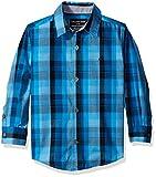 Calvin Klein Little Boys Track Plaid Long Sleeve Shirt, Medium Blue, X-Large/7