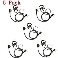 Marvogo 2-Pin Ear-Clip Earpiece Headset for Kenwood Two Way Radio TK3170 TK3173 TK3200 TK3201 etc (5 Pack)