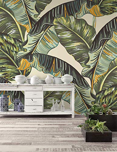 - Murwall Leaf Wallpaper Banana Leaf Wall Mural Vintage Leaves Wall Print Nostalgic Home Decor Cafe Design
