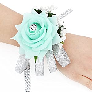 FAYBOX Flannel Open Rose Silvery Bling Ribbon Rhinestone Stretch Bracelet Wedding Prom Wrist Corsage Hand Flower 4