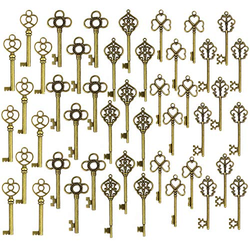 DuomiW Mixed 50 Antique Bronze Finish Skeleton Keys Rustic Key for DIY Wedding Party Decoration Favor (5 Different Styles x 10)