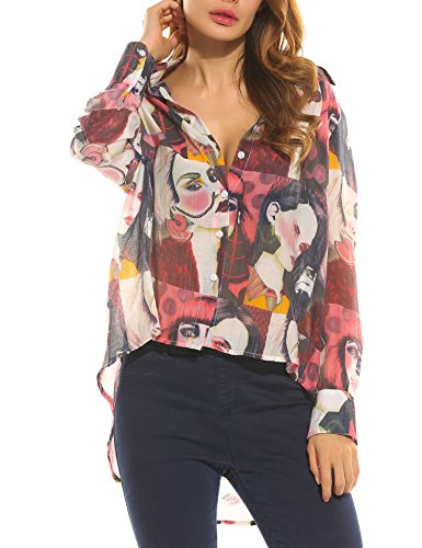 Zeagoo Collar T shirt Sleeve Asymmetrical product image