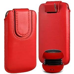 N4U Online Premium PU tirón del cuero del tirón del caso Tab cubierta de bolsa Con magnética Cierre de correa y mini altavoz portable para Samsung Galaxy Y Duos S6102 - rojo