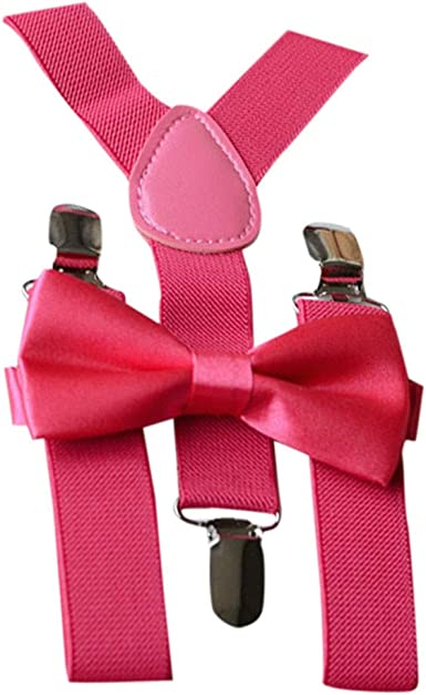 New Y back Kid/'s Boy/'s Suspender adjustable strap clip on /& bowtie Hot pink