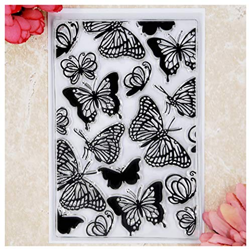 - Kwan Crafts Butterfly Background Clear Stamps for Card Making Decoration and DIY Scrapbooking
