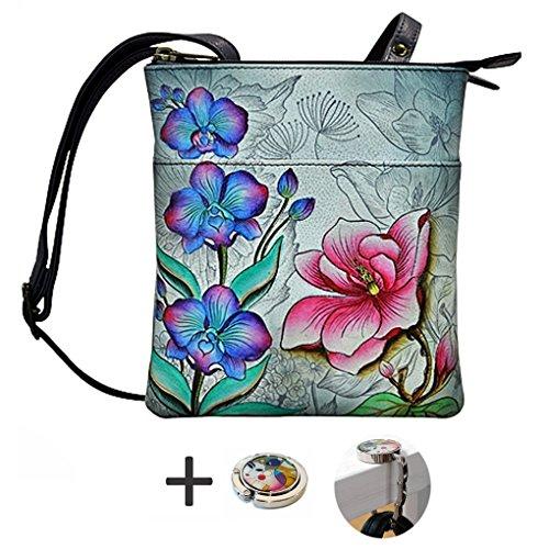 RFID Blocking Leather Purse Triple Compartment Handpainted Travel Holder Fantasy Floral Anuschka Bag fdWnqf5