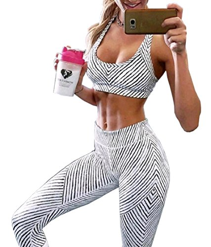 DressUWomen DressU Women 2 Piece Cool Dry Fitness Joggers Bar Tights Leggings Set White XS