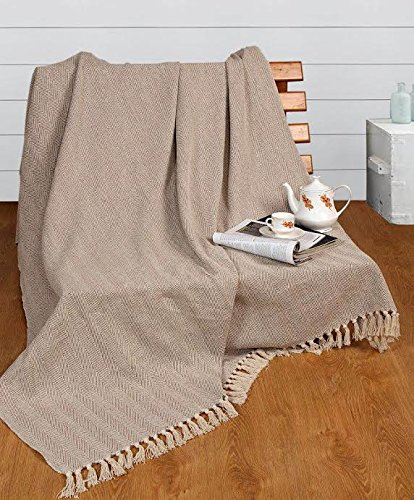 EHC 150 x 200 cms Natural Cotton Herringbone Sofa Arm Chair Bedspread Settee Throw, Double Elitehousewares E9-HERB1520BE