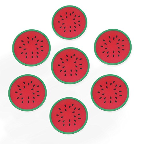 Lhx Silicone Multi-Use Cartoon fruits shapes Non Slip Hot Pads and Coasters Cup Mats Heat Resistant to,Non-slip,Durable, Pack of 7 (Red)