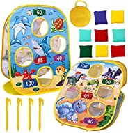 Brteyes Bean Bag Toss Game Outdoor Toys,Collapsible Double Sided Play Toys,Dinosaur & Oceans Themed with 8