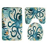 FuriGer Bathroom Rugs Sets 3 Piece,Toilet Mats for Bathroom U Shaped Set Washable Non-Slip Lid Toilet Cover&Bath Mat Decoration for Bathroom Accessories.