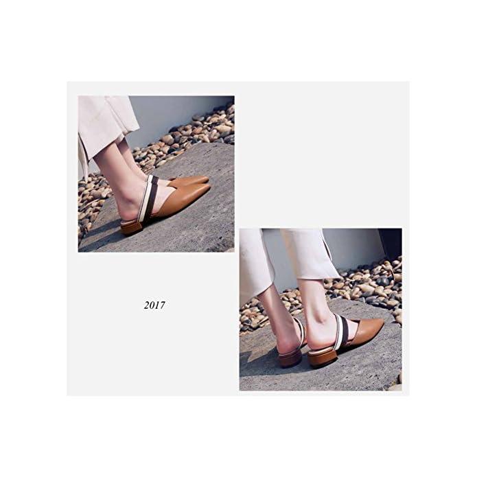 Sandali A Punta Donna 2018 Primavera Estate Nuovo Ciabatte Slingback In Pelle Muli Tacco Basso Large Size