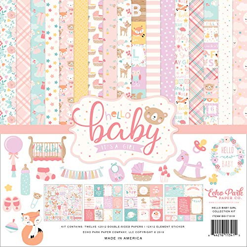 Echo Park Paper Company Hello Baby Girl Collection Kit Paper, Pink, Teal, Yellow, Purple, Orange