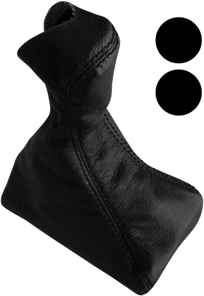 AERZETIX Funda para palanca de cambios 100/% PIEL GENUINA negro con costuras negras