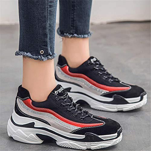 de Sintético Negro Deportes de Zapatillas Exterior Mujer de LFEU qxYg6X7w