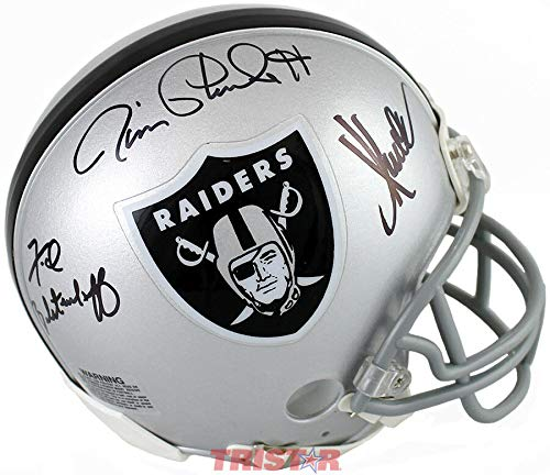 (Oakland Raiders Super Bowl Mvps Autographed Signed Replica Mini Helmet Memorabilia)