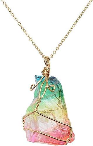 Natürlicher Regenbogen Stein Heilung Crystal Rock Quarz Anhänger Halskette Birthstone Gold überzogene volle Wire Wrap Edelstein Halskette Schmuck