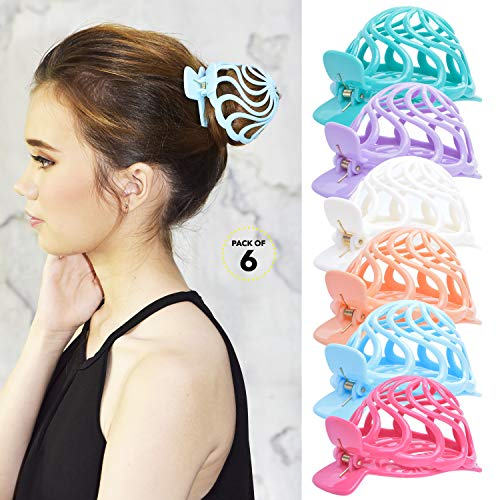 Ornament Round Ornament Round (RC ROCHE ORNAMENT Womens Shell Dome Round Circle Stylish Plastic Strong Grip Hinge Side Slide Bun Maker Clips Girls Beauty Accessory Hair Clip, 6 Pack Count Medium Pastel Multicolor)