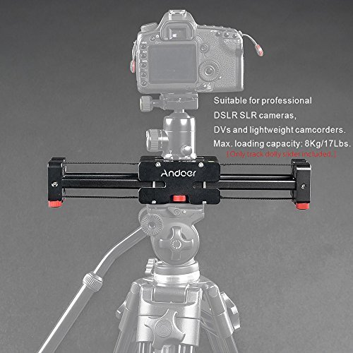 Andoer V2-500 Compact Retractable Camera Track Dolly Slider Video Stabilizer Rail System 50cm Rail Shooting 86cm Actual Sliding Distance with 8Kg/17Lbs Load Capacity 1/4'' 3/8'' Thread Screw