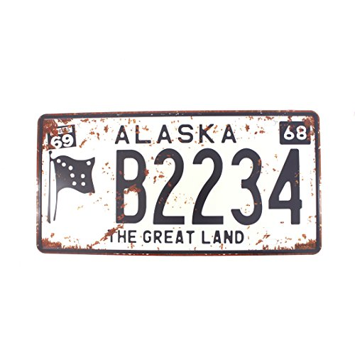 6x12 Inches Vintage Feel Rustic Home,bathroom and Bar Wall Decor Car Vehicle License Plate Souvenir Metal Tin Sign Plaque (ALASKA THE GREAT LAND)