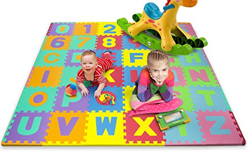 Matney Kid's Foam Floor Alphabet and Number Puzzle Mat, Multicolor (36 Piece) - Assorted Kids Floor Puzzles