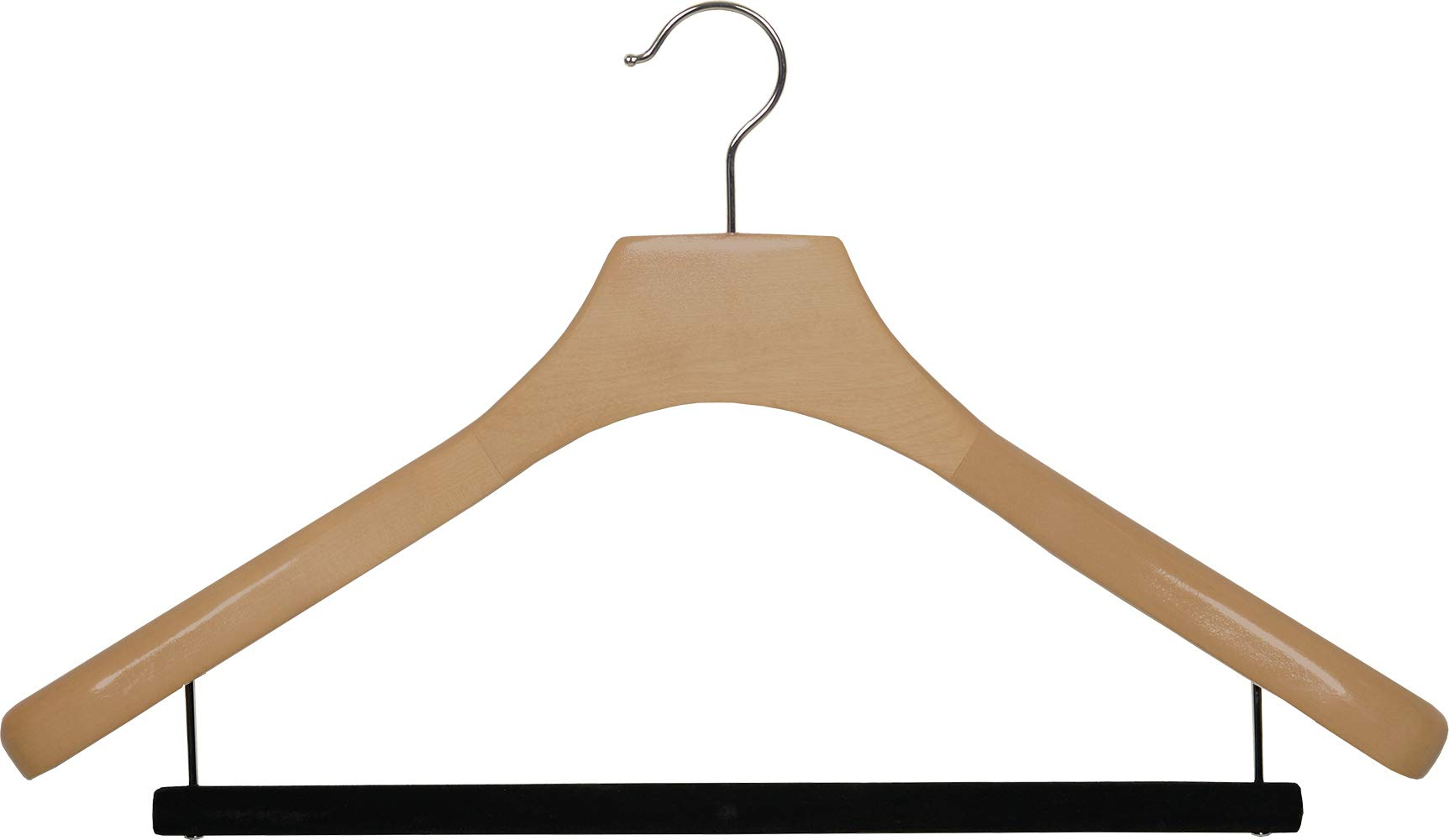 Deluxe Wooden Suit Hanger with Velvet Bar, Natural Finish & Chrome Swivel Hook, Large 2 Inch Wide Contoured Coat & Jacket Hangers (Set of 24) by The Great American Hanger Company