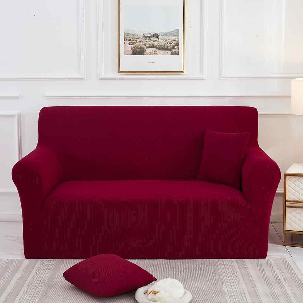 AVV Christmas Red Super Stretch Chair Sofa Slipcover – Spandex Non Slip Soft Couch Sofa Cover, Washable Furniture Protector with Non Skid Foam and Elastic Bottom for Kids, Pets