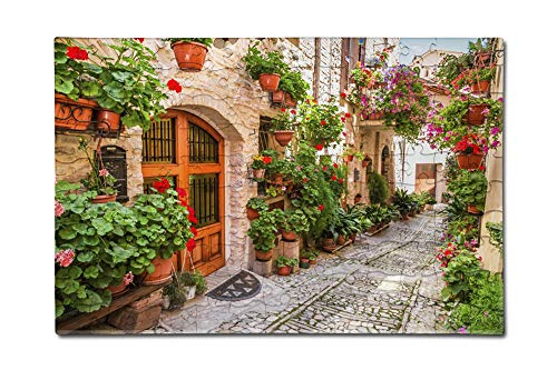 Umbria, Italy - Street Scene in Small Italian Town - Photography A-91554 (12x18 Premium Acrylic Puzzle, 130 Pieces)