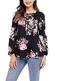 Vanbuy Womens Long Sleeve V Neck Lace UP Floral Print Blouse Shirt Top Z54-250250-Black-M