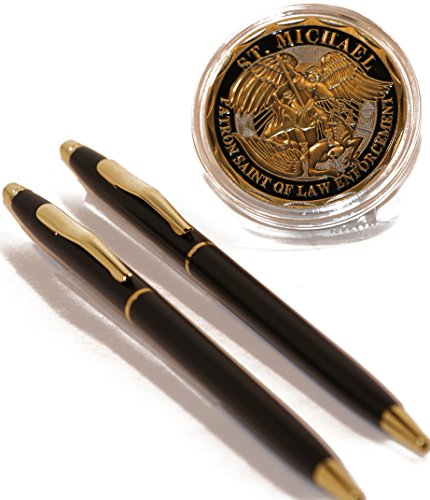 Black and Gold Police Uniform Pens with Steel Saint Michael's Police Badge Challenge (Gold Police Badge)