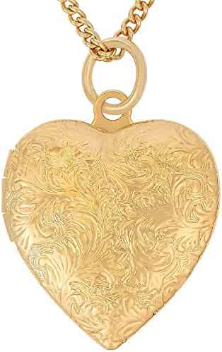 Lifetime Jewelry Heart Locket Necklace, Antique, 24K Gold over Semi Precious Metals, Guaranteed for Life (Choice of Pendant with or without Chain)