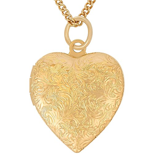 Lifetime Jewelry Heart Locket Necklace, Antique, 24K Gold Over Semi Precious Metals, Guaranteed for Life (Choice of Pendant with or Without Chain) (Gold Locket & Chain) -