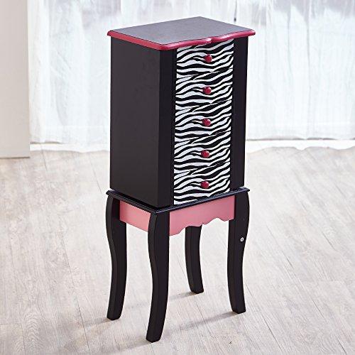 Teamson Kids - Fashion Prints Kids Jewelry Chest Armoire - Zebra (Pink / Black)