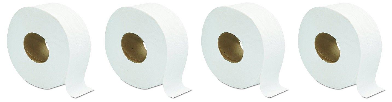 GEN 202 Jumbo JRT Bath Tissue, 2-Ply, White, 9 in Diameter (Case of 12 Rolls) (4-(Case of 12 Rolls))