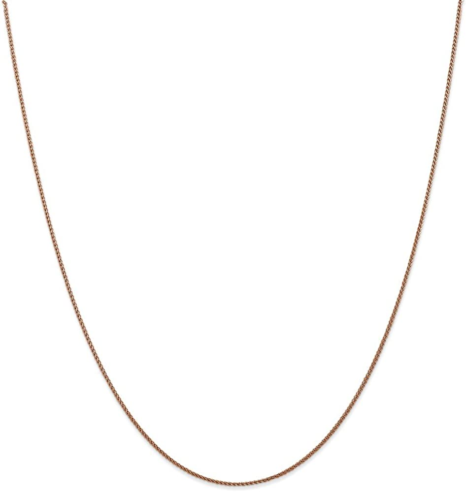 Leslies Real 14kt Rose Gold 1mm Spiga Chain; 24 inch Wheat