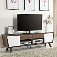 Coaster 74 TV Stand in Chestnut and Glossy White