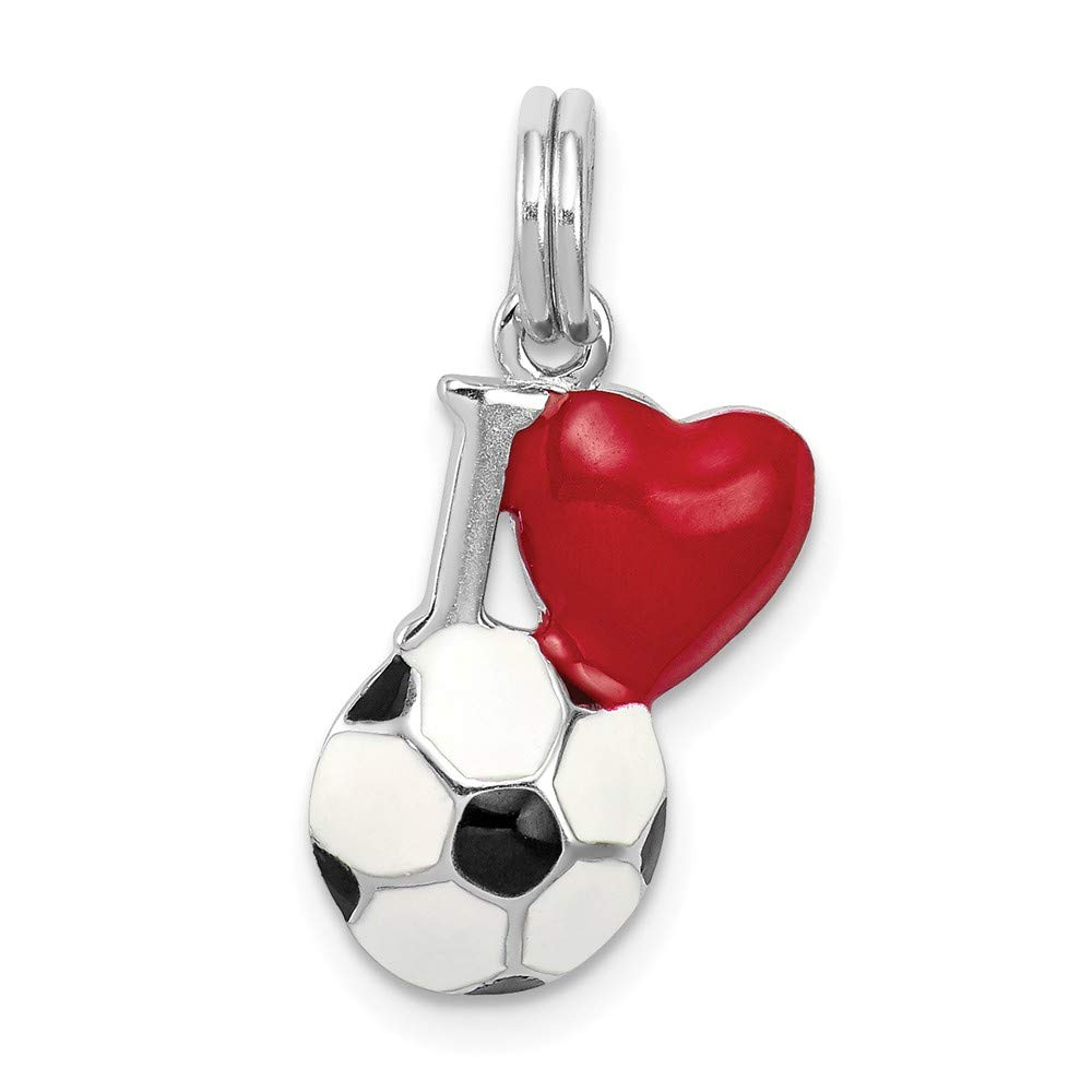 Mia Diamonds 925 Sterling Silver Enamel I Heart Soccer Ball Charm 17mm x 11mm