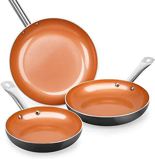 Amazon Com Shineuri Nonstick Ceramic Copper Pan Set 8 9 5 11 Inch Frying Pan Set Fry Pan Set With Stainless Steel Handle Suitable For Cooking Saute Vegetables Steaks Induction Compatible Kitchen Dining