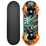RudeBoyz 17 Inch Mini Wooden Cruiser Graphic Beginner Skateboard (Dinosaur Design)