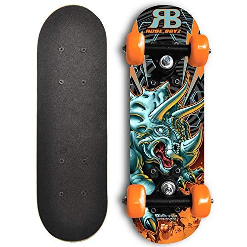 (RudeBoyz 17 Inch Mini Wooden Cruiser Graphic Beginner Skateboard (Dinosaur Design))