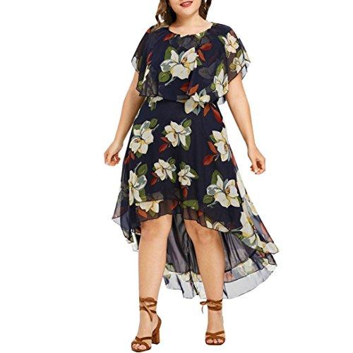 De Robe Femmes Jupe Casual Parti Rond Chic Marine SoirE Bal Femmes lgant Couche Grande Impression Col Au XL AsymTrie Taille ADESHOP Genou Robe Double BohMien Taille Slim 5XL IqO1T6