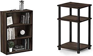 Furinno Pasir 3-Tier Open Shelf Bookcase, Columbia Walnut & Just 3-Tier End Table, 1-Pack, Columbia Walnut/Black