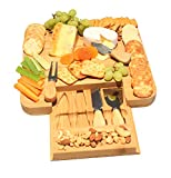 Natural Bamboo Cheese Board With Slide Out Drawer Cutlery Set